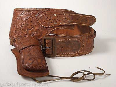 "WESTERN GUN HOLSTER TOOLED LEATHER BELT For 22 Caliber Approx 44"" Inch Vintage!"