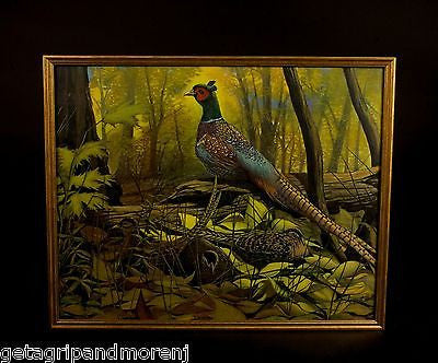 "AUGUST HOLLOW 1940s Pheasants In Foliage 17.5"" x 21"" Lithograph Print"