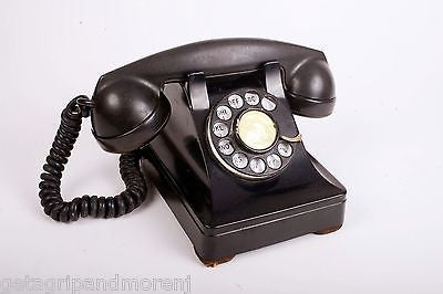 WESTERN ELECTRIC Model F1W Black Rotary Dial Telephone Antique!