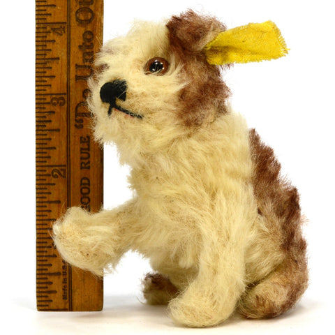 "Vintage STEIFF ""MOLLY"" YOUNG DOG #3310,00 BROWN & WHITE 3"" Sitting SWIVEL HEAD!"