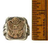 Vintage MILITARY/FRATERNAL SILVER RING w/ 10K GOLD EAGLE & 8-STARS Men's Size 11