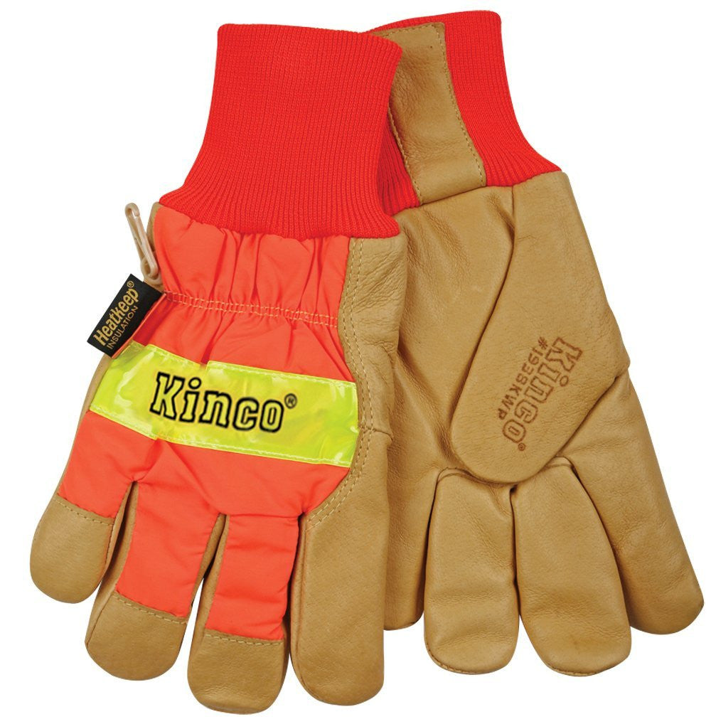 Kinco Work Gloves 1938KWP High Visibility Waterproof Pigskin Gloves Large