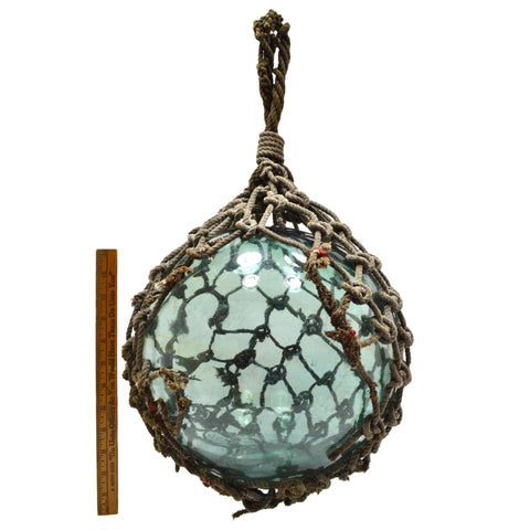 Antique JAPANESE GLASS FISHING FLOAT w/ Original Net EMBOSSED/SIGNED! Teal-Aqua