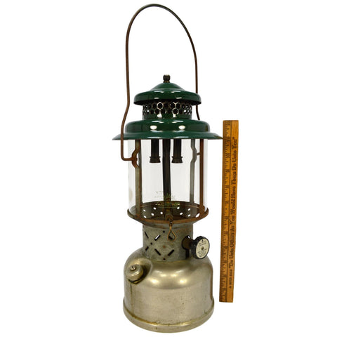 Vintage COLEMAN Model 220D GAS LANTERN Nickel-Plated & Green Top 2-MANTLE c1950s
