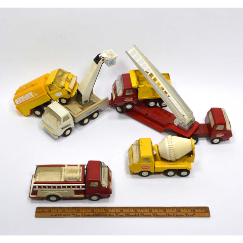 Vintage MINI TONKA 6 VEHICLE LOT Shell Gas FIRE LADDER Cement Mixer DUMP TRUCK +