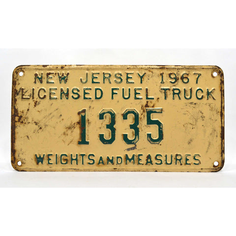 "Vintage 1967 ""COAL TRUCK"" N.J LICENSE PLATE No. 1335 ""WEIGHTS AND MEASURES"" Rare"