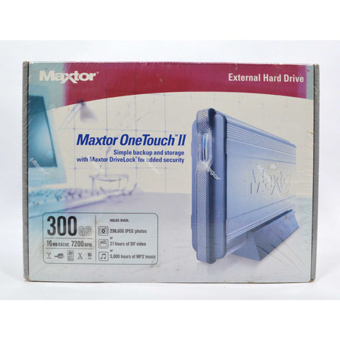 Brand New MAXTOR ONETOUCH II External Hard Drive 300 GB 7200 RPM Factory Sealed!