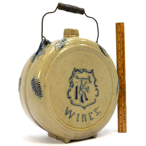 "Antique STONEWARE WINE CANTEEN by WHITES POTTERY for ""I.F& K WINES"" c.1890 Rare!"
