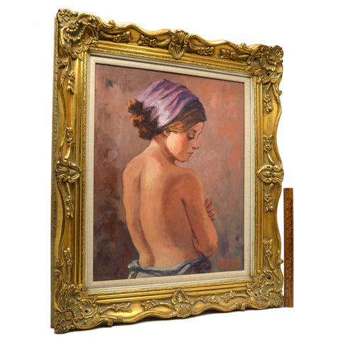 "Original Art OIL ON PAINTING Vintage SIGNED ""ALFIERI"" Head Scarf NUDE BACK WOMAN"