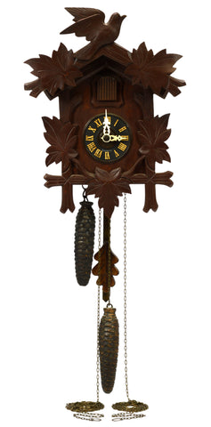 Vintage GERMAN CUCKOO CLOCK Black Forest REGULA c.1950 BIRD-LEAF MOTIF 2 Weights