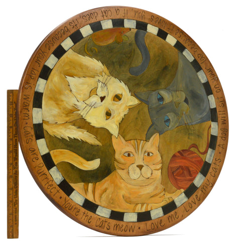 "Rare! CATS & MOUSE THEME 'LAZY SUSAN' 20"" Turntable by STICKS OBJECT ART, 2008"