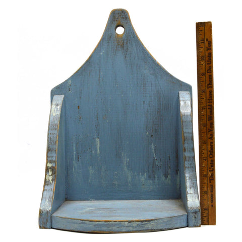 Antique APOTHECARY WALL SHELF Primitive KITCHEN SPICE RACK Candle/Keys PALE BLUE