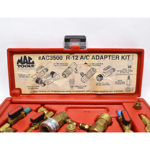 "Briefly Used MAC TOOLS ""PRO-SET R-12 A/C ADAPTER KIT"" #AC3500 Complete in Case"