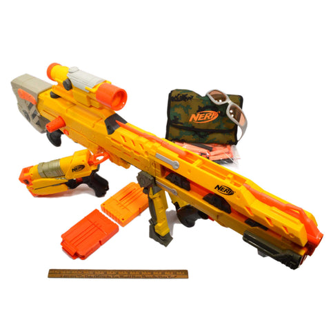 "NERF LOT; LONGSHOT CS-6 BLASTER Pull-Back Pistol ""SWITCH SHOT EX-3"" + 30 Darts +"