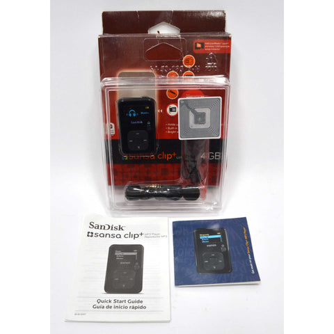 "Open Box SANDISK ""SANSA CLIP+"" MP3 PLAYER 4GB, Black w/ MicroSD Slot NO SOFTWARE"