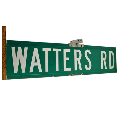 "Vintage STEEL STREET SIGN ""WATTERS RD"" Double-Sided 9x36 ROAD MARKER + Hardware!"