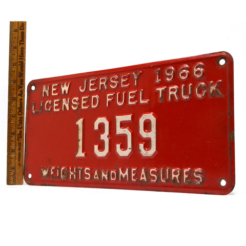 "Vintage 1966 ""COAL TRUCK"" N.J LICENSE PLATE No. 1359 ""WEIGHTS AND MEASURES"" Rare"