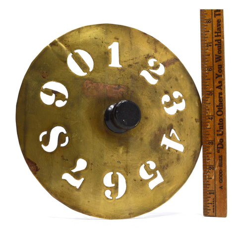 "Antique BRASS NUMBERS STENCIL Hardwood Knob 7.5"" DIAMETER #'s 0-9 Primitive Tool"