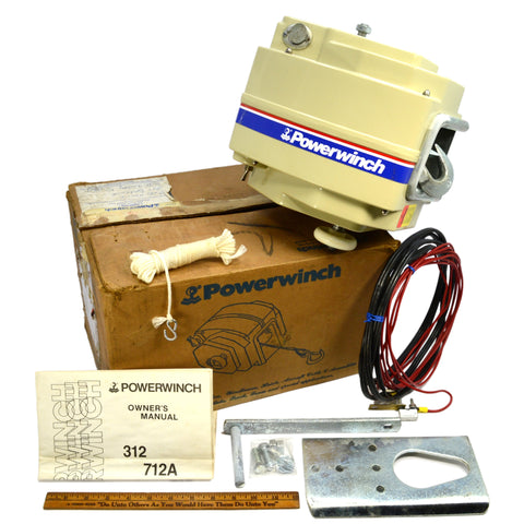 New! POWERWINCH No. 312 ELECTRIC TRAILER WINCH Complete in Open Box NEVER USED!