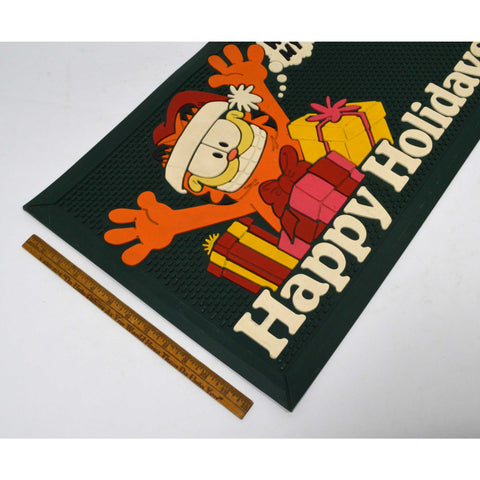 "Vintage GARFIELD CHRISTMAS DOOR MAT ""HAPPY HOLIDAYS...WHERE'S MY GIFT"" c.1978"