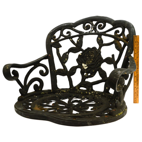 Salvaged CAST IRON PATIO CHAIR (No Legs) w/ ROSE MOTIF Lawn/Garden Decor BLACK