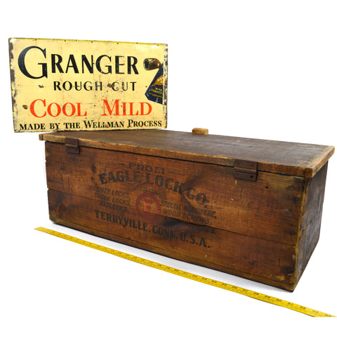 Antique EAGLE LOCK CO SALESMAN CHEST Wood Box + GRANGER TOBACCO ADVERTISING Rare