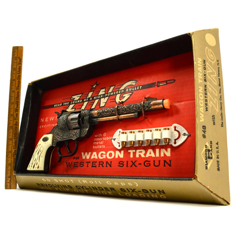 "Vintage WAGON TRAIN WESTERN .44 CAP-GUN with ""ZING"" #48 in Box! LESLIE-HENRY CO."