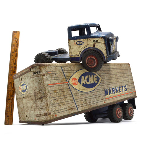 "Vintage MARX LUMAR ""SHOP ACME MARKETS"" TRUCK Pressed Steel TOY GROCERY TRAILER"