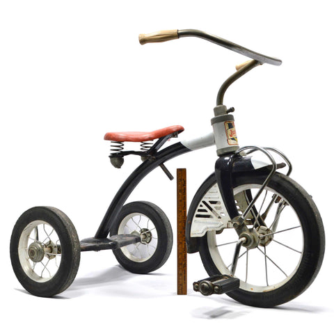 "Vintage ""AMF JUNIOR TOY CORP. TRIKES & BIKES"" Rare Tricycle c.1950's BLACK & RED"
