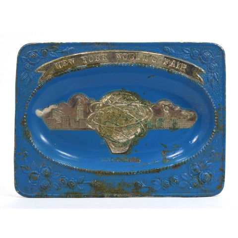 Vintage 1964-65 NEW YORK WORLD'S FAIR ASHTRAY Rare Blue! SQUARE METAL Unisphere