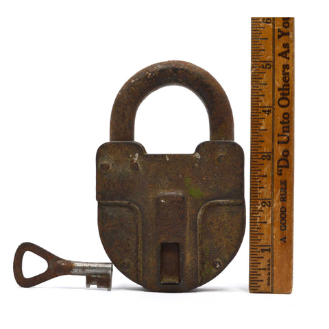 "Antique BIG 5"" IRON PADLOCK w/ Keyhole Cover/Door & WORKING KEY Unbranded RARE!"