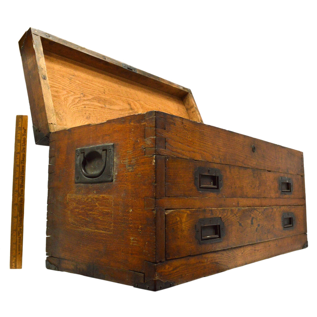 Antique DOVETAIL WOOD MACHINIST CHEST Sexy Old 2-DRAWER ...