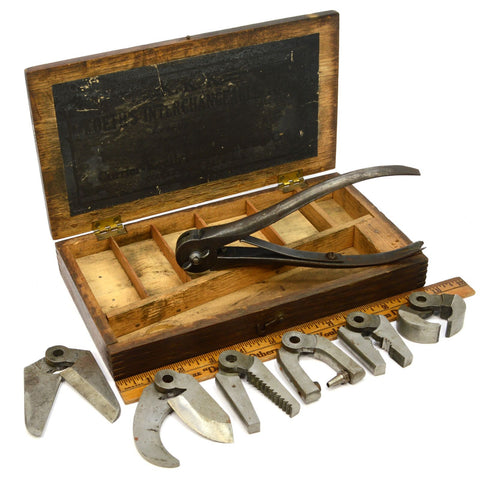Antique CURRIER-KOETH'S KOMBINATION KIT (KKK) Oak Box! INTERCHANGEABLE TOOL KIT