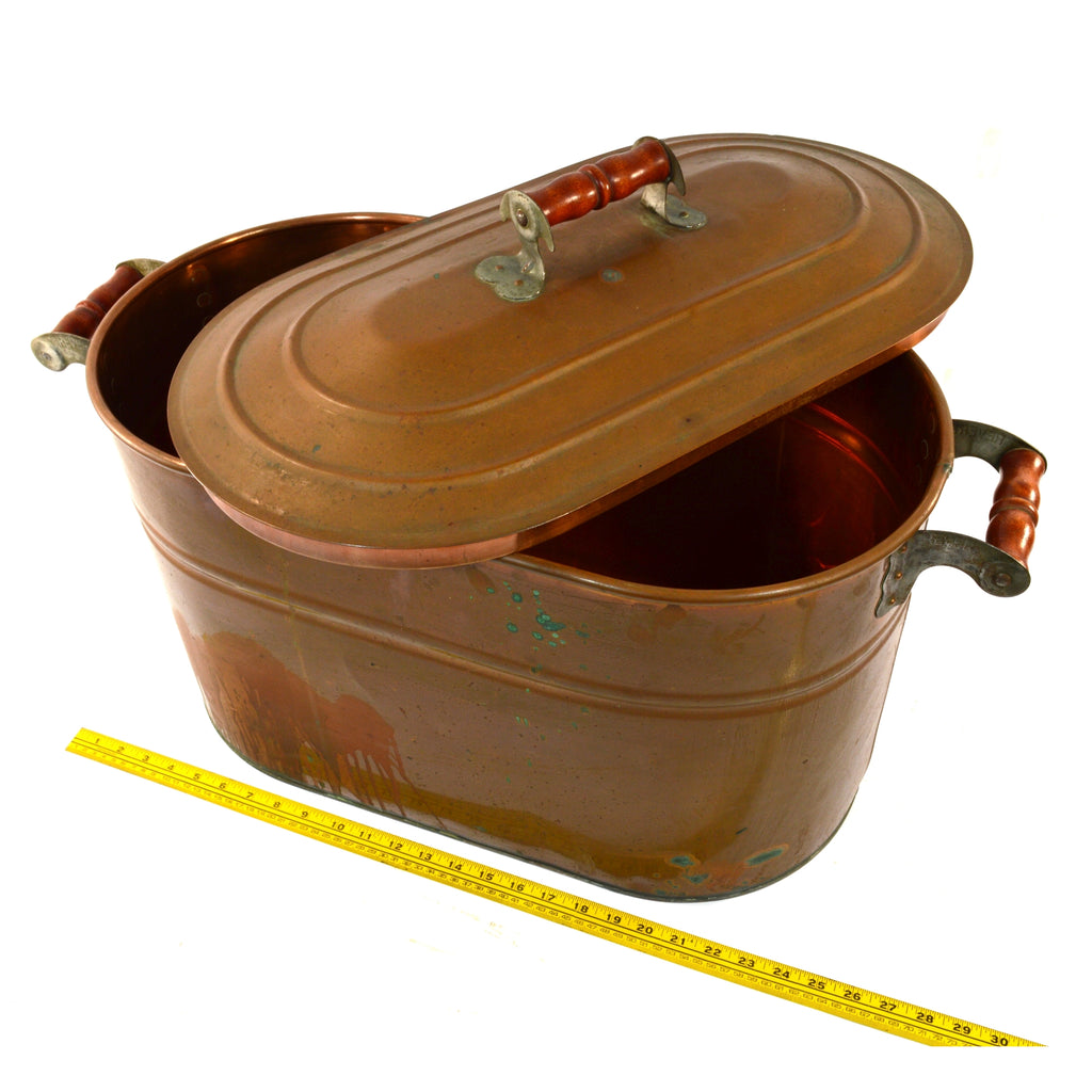"Antique ""REVERE"" COPPER TUB 14 Gallon ROASTING PAN Double-Handle & ORIGINAL LID!"