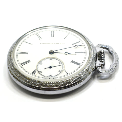 Antique ELGIN 1888 POCKET WATCH 15 Jewels, 16s, H3G31 in Open Face DEFIANCE CASE
