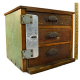 Antique HOMEMADE 3-DRAWER CABINET Unusual LOCK-PLATE Tool Chest OLD GREEN PAINT!