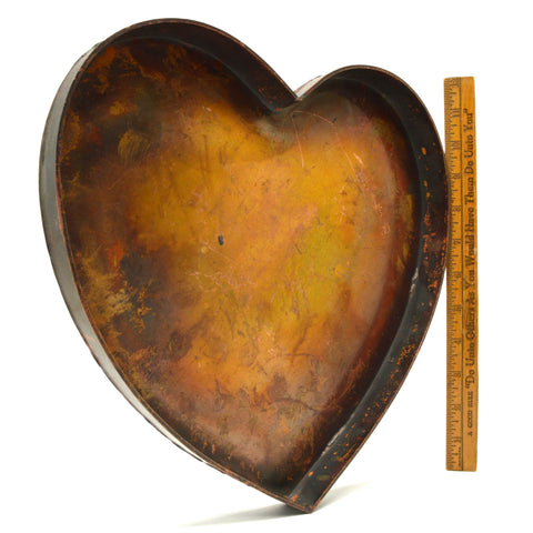 "Vintage/Antique HEART-SHAPED COPPER TRAY 12"" Pan/Plate/Platter w/ SUPERB PATINA!"