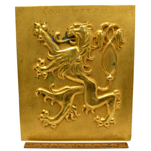 "Vintage COPPER-BRASS/BRONZE PLAQUE Rare 'LOWENBRAU RAMPANT LION' Signed ""GOETZ"""
