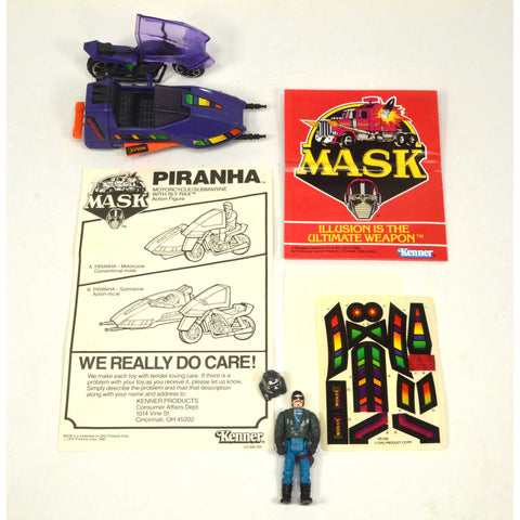 "Vintage KENNER M.A.S.K. (MASK) TOY Complete w/o Box ""PIRANHA"" Unused DECAL SHEET"
