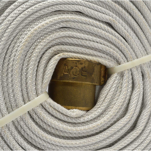 "Multiple Available 100ft WHITE FIRE HOSE w ""ACE"" 1-1/2"" BRASS COUPLINGS ""USA-NH"""