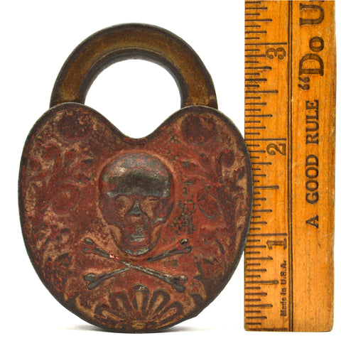 Antique STORY PADLOCK Figural SKULL & CROSSBONES w/ Key POISON/PIRATE LOCK Rare!