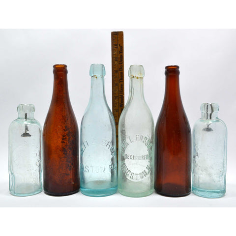 Antique BOTTLE LOT OF 10 SODA or BEER Seitz HUTCHINSON Blob-Tops NJ & PA BOTTLES