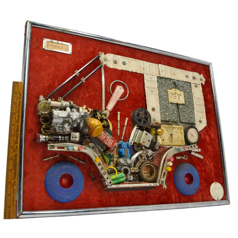 "Vintage FOLK/OUTSIDER ART COLLAGE ""John's Car"" by JULES ORIGINALS c.1972 Signed!"