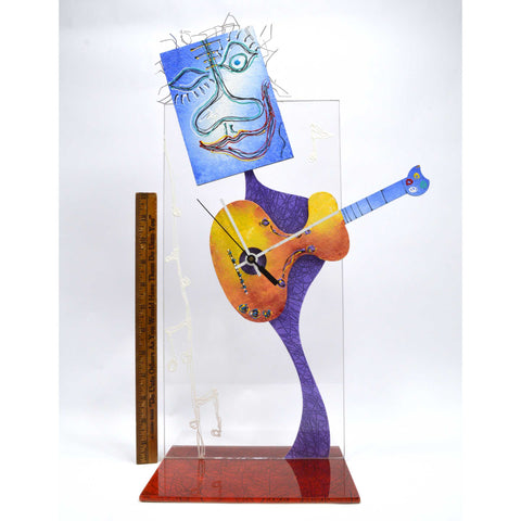 Original 3D MIXED MEDIA 'GUITAR CLOCK DUDE' ART Hand-Painted & Sculpted WORKS!!