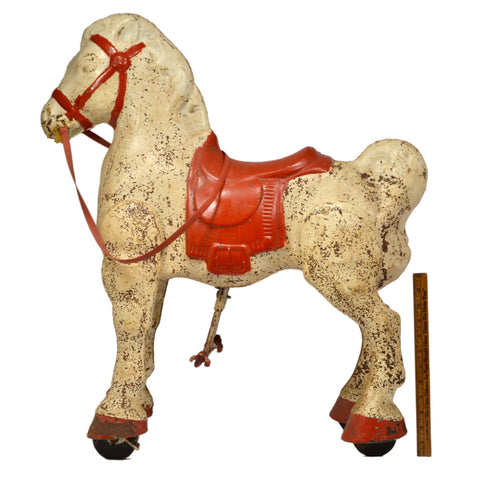 "Vintage MOBO BRONCO MECHANICAL HORSE 30""T Kids Ride-on Toy RED & WHITE c.1950's"