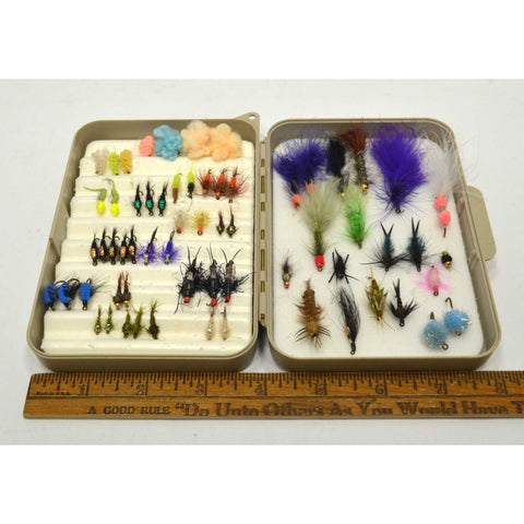 Early CORTLAND FLY FISHING FLIES Lot of 63 in ORIGINAL CASE Good Variety of Ties