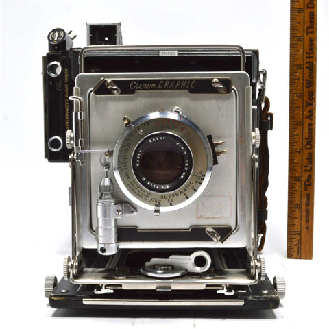 GRAFLEX 4X5 CROWN GRAPHIC CAMERA Kodak Ektart 127mm f4.7 + KALART RANGE FINDER!!