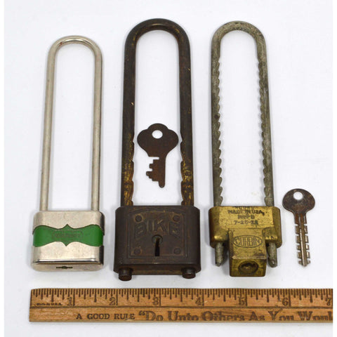 "VTG/Antique BICYCLE PADLOCK Lot of 3 Old Cycling Locks CORBIN GlobeMaster ""BIKE"""