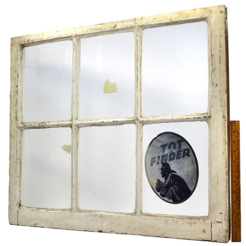 Antique SALVAGED 6-PANE WOOD WINDOW Old White Paint w/ 1972 TOT FINDER STICKER!
