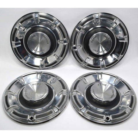 "Vintage FORD HUBCABS c.1970s MAVERICK Lot / Set of 4 HUB CAPS ~14"" Wheel Covers"